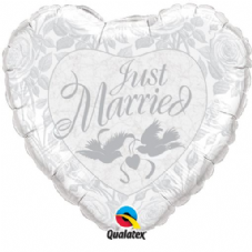 Just Married Heart White & Silver Foil Helium Balloon